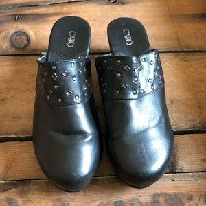 7652 CATO Black Size 9 Wide Leather Slip On Mules
